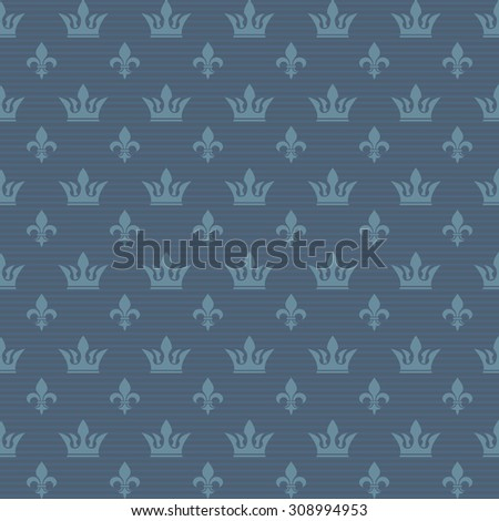 Seamless pattern crown and lily. Ability to edit the color. - stock vector