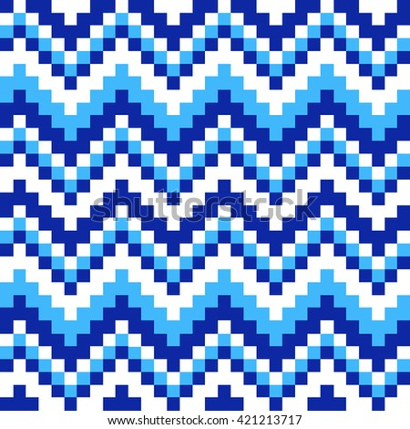 seamless pattern cubic blue, white and squares - stock vector