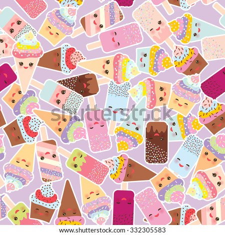 seamless pattern cupcakes with cream, ice cream in waffle cones, ice lolly  Kawaii with pink cheeks and winking eyes, pastel colors on light lilac background. Vector - stock vector