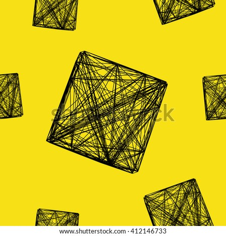 Seamless pattern 3D cube, network, vector illustration  - stock vector