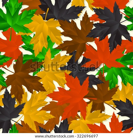 Seamless pattern design of autumn leaves - stock vector