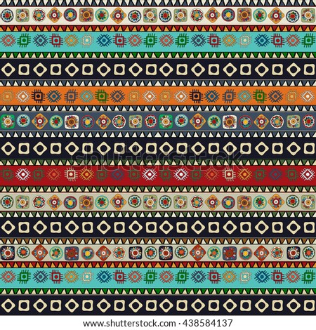 Seamless pattern design with aztec motif - stock vector