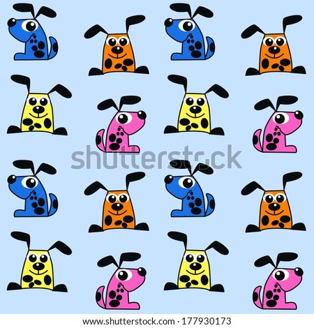 seamless pattern dog animal texture - stock vector