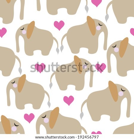 Seamless pattern elephants on a white background - stock vector