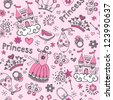 Seamless Pattern Fairy Tale Princess Tiara Crown Notebook Sketchy Doodle Design Elements Vector Design - stock vector