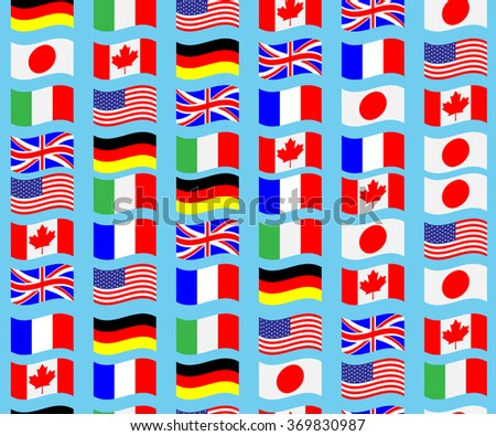 Seamless pattern flag g7 wave. Canada france america italy usa japan. Vector art abstract unusual fashion illustration - stock vector