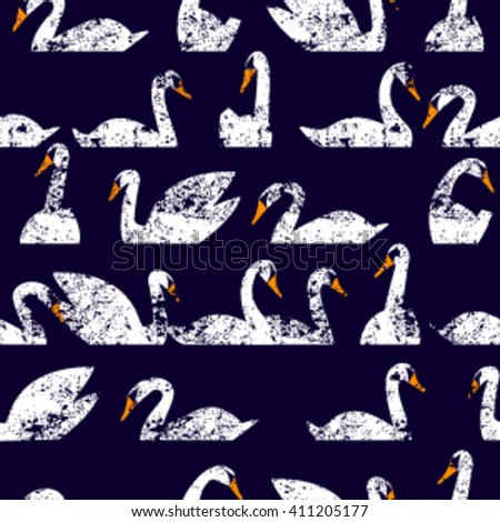 Seamless pattern flock of swans swim. Vector illustration. All elements are not cropped and hidden under mask. You will find a pattern to create scuffs in the file. - stock vector