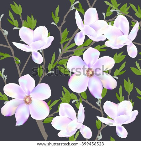 Seamless pattern floral background with flowers Magnolia. Vector illustration. EPS 10 - stock vector