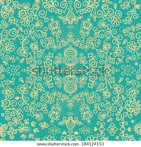 seamless pattern, floral design, vector illustration. - stock vector