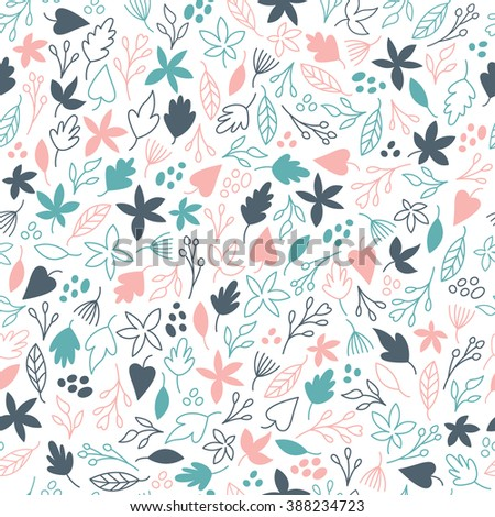 Seamless pattern, flowers and leaves on white background - stock vector