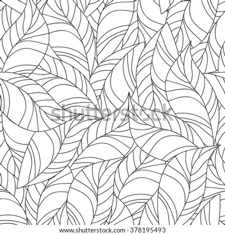 Seamless pattern for coloring book. Floral, retro, doodle, vector design element. Black and white background. - stock vector