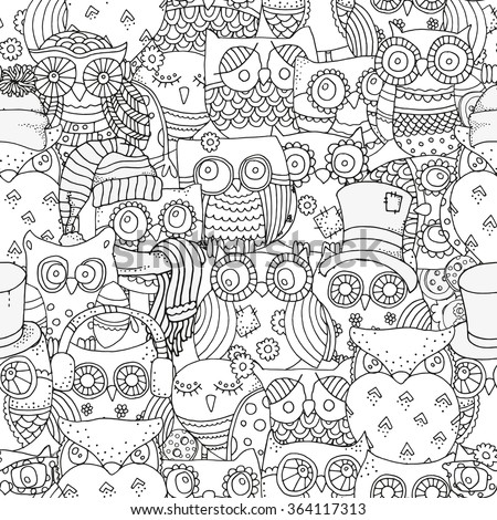 Seamless pattern for coloring book. Owls. Black and white  background. Artistically drawn, zentangle, stylized, feathers - stock vector
