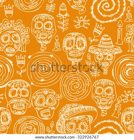 Seamless pattern for Day of the dead skull. Woman with calavera makeup. Dia de los muertos Text in Spanish. - stock vector