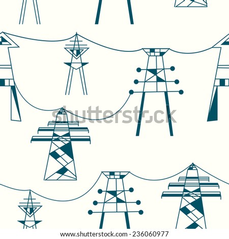 Seamless pattern for electricity - power lines illustration - stock vector