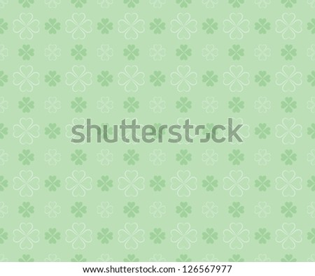 seamless pattern for St. Patrick's Day with four leaf shamrock leaves - stock vector