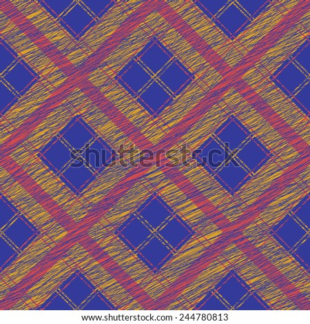Seamless pattern for wallpaper, web page background, surface textures. Grungy tartan. Brush strokes. Pattern fills. Abstract backdrop. Simple checkered template. - stock vector