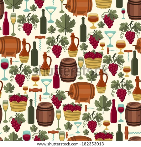 Seamless pattern for wine, wineries and restaurants. - stock vector