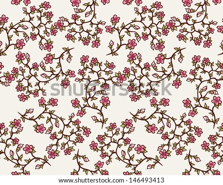 Seamless pattern. Fresh leaves and flowers. Seamless pattern can be used for wallpaper, textile, web page background, scrapbook, wrapping.  - stock vector