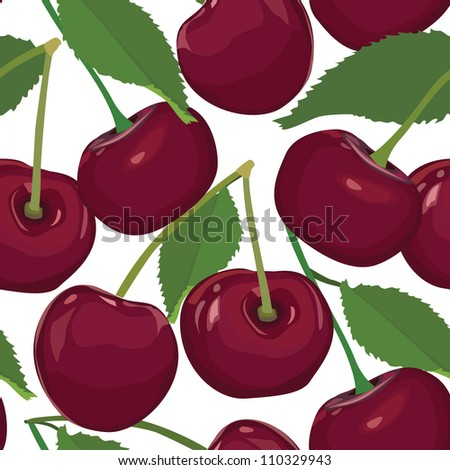 seamless pattern from cherry, ripe berry on white background - stock vector