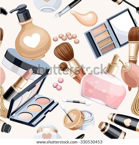 Seamless pattern from cosmetic objects cream,eye shadow, brushes, foundation cream, mascara... - stock vector