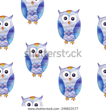 Seamless pattern from cute watercolor owls on white background. Vector image. - stock vector