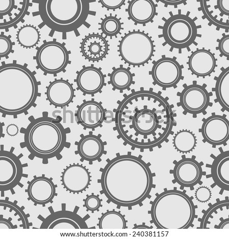 Seamless pattern from different gears on a gray background - stock vector