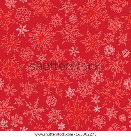 Seamless  pattern from snowflakes on red background. - stock vector