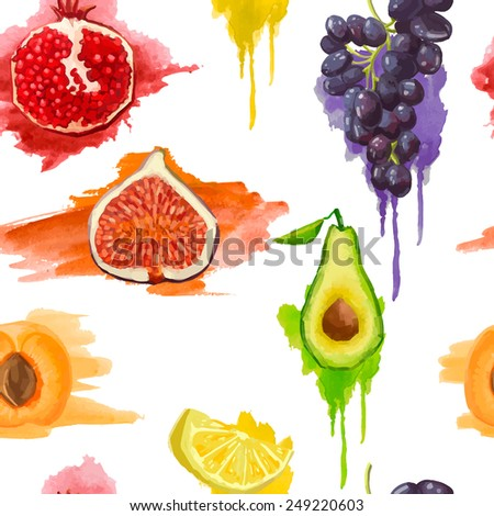 Seamless pattern. Fruits with watercolor splashes. On a white background. Vector. - stock vector