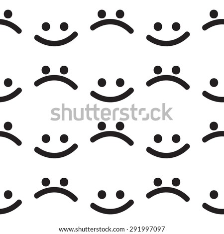 Seamless pattern: funny and sad smile. Black and white. Primitive style. - stock vector