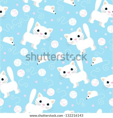 seamless pattern -funny cartoon kitten - stock vector