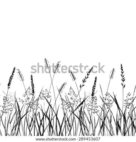 Seamless pattern grass strip. Vector Illustration - stock vector