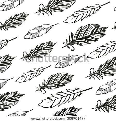 Seamless pattern. Hand drawn bird black feathers. Vector illustration - stock vector