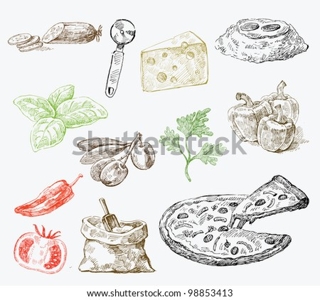 seamless pattern hand drawn food - stock vector
