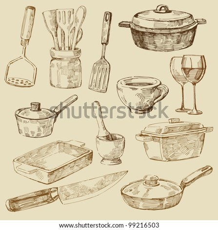 seamless pattern hand drawn kitchen - stock vector