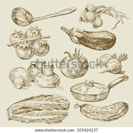 seamless pattern-hand drawn of food - stock vector