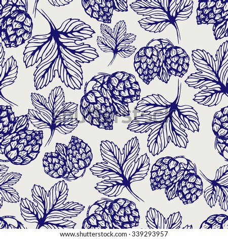 Seamless pattern herbs. Ball pen hop vector background. Sketch hop plant seamless texture. Medicinal herbs seamless pattern. Hand drawn illustration for print, decoration, design, label, web, wrapping - stock vector