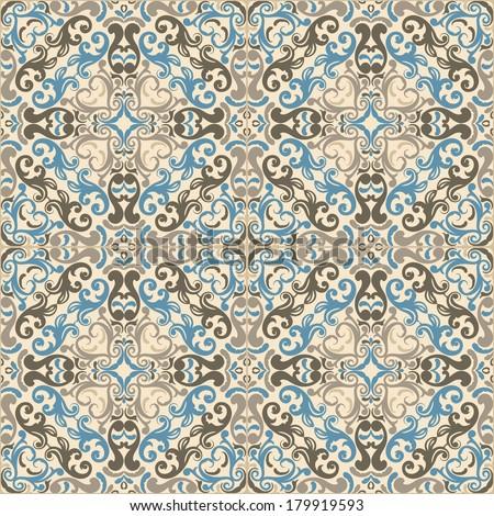 Seamless pattern illustration in pastel - like retro tiles  - stock vector
