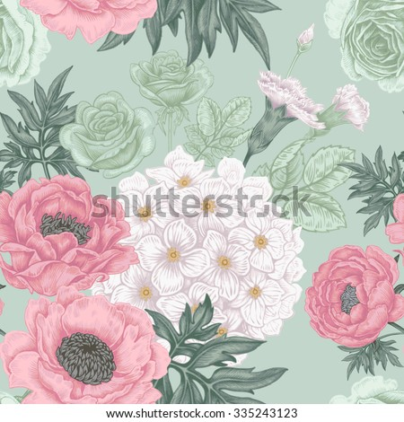 Seamless pattern. Illustration of garden flowers of roses, peonies, hydrangeas, carnations. Floral design in Victorian style to create fabrics, textiles, wallpaper, paper. Vintage. Vector. - stock vector