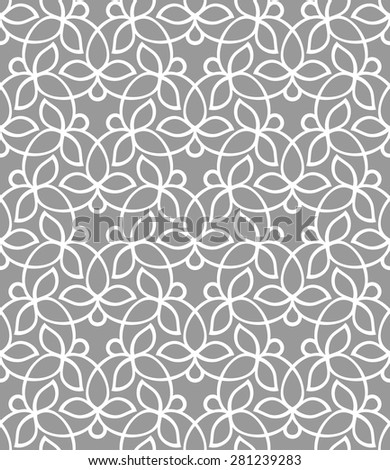 Seamless pattern in arabic style. Intersecting curved elegant lines and scrolls forming abstract floral ornament. Arabesque. Abstract floral ornament on gray background. - stock vector