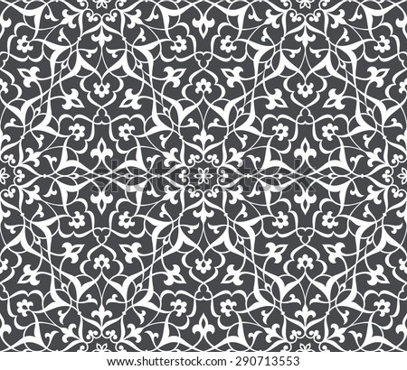 Seamless pattern in Arabic style. Intersecting curved elegant stylized leaves and scrolls forming abstract floral ornament. Arabesque. - stock vector