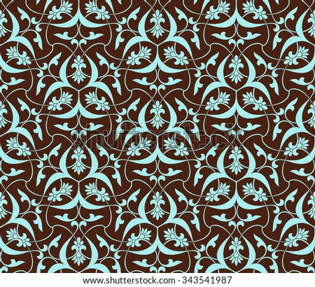 Seamless pattern in Arabic style. Intersecting curved elegant stylized leaves and scrolls forming abstract floral ornament in brown and blue color. Arabesque. - stock vector