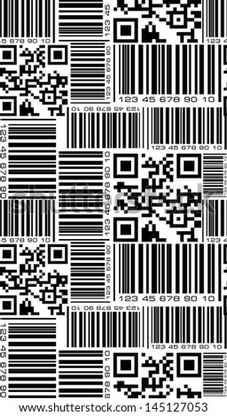 Seamless pattern in barcode style. - stock vector