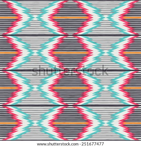 Seamless pattern in ethnic style. Abstract background. Vector illustration. Antique American Navajo textile.  - stock vector