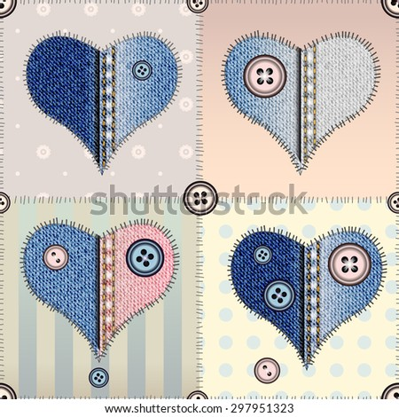 Seamless pattern in patchwork style with denim hearts. - stock vector