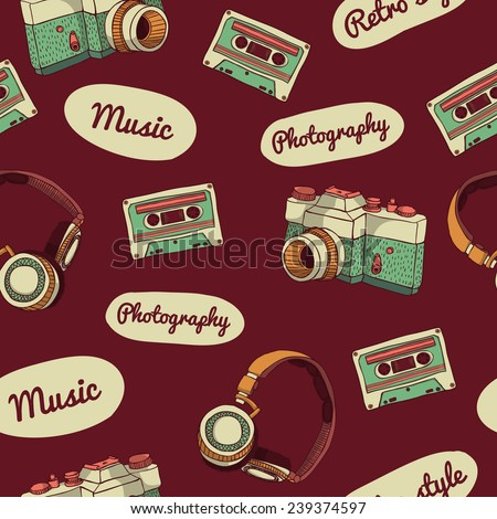 Seamless pattern in retro style. Camera, audio cassette, headphones and text on a dark background. vector - stock vector