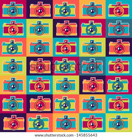 Seamless pattern in retro style with cameras. - stock vector