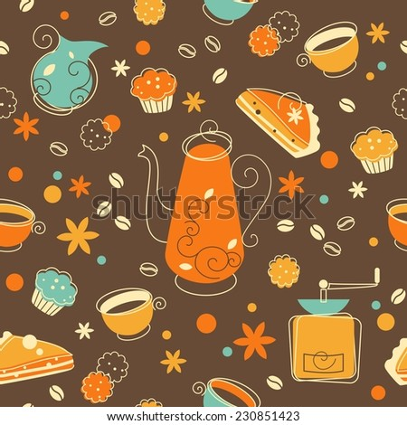 Seamless pattern in retro style with coffee and bakery products - stock vector