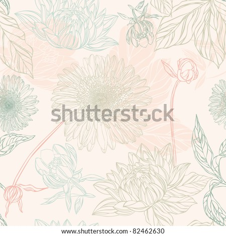 Seamless pattern in retro style with flowers - stock vector