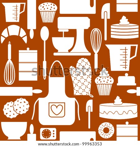 Seamless pattern in retro style with kitchen and baking items. - stock vector