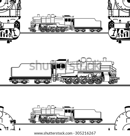 seamless pattern in the form of a line drawing of a steam locomotive on a white background - stock vector